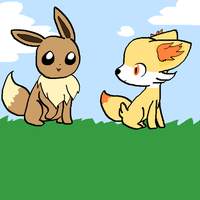 Eevee and Fennekin by iVui