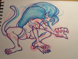 Felicia marker sketch 3 paw!!!! by Koricthegreat