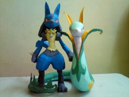 Lucario and Serperior by riolushinx
