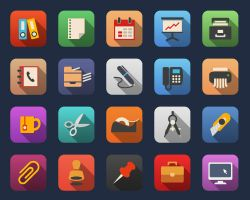 Business and Office Flat Icons by Alexgorilla