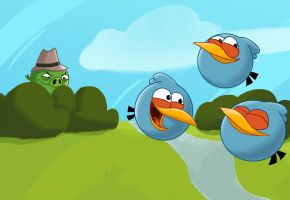 Angry Birds: Spy Pig is spying the Blues by Creeperchild