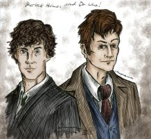 Sherlock and The Doctor: Art trade! by Sketch-Zap