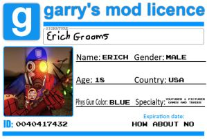 Erich's Garry's Mod License card by ErichGrooms3
