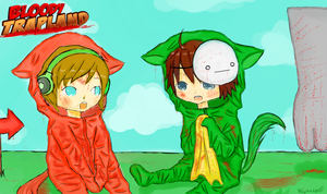 chibi Pewds and Cry in Bloody Trapland by usalienpotter