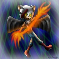 Jay the tiger hedgehog bat- playing with fire by Kathy-the-echidna