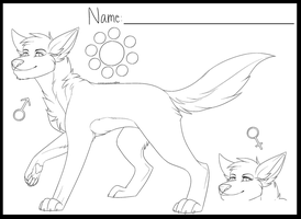 MS Paint  - Wolf Free Lineart Ref Sheet by Cherry-Chocoalate