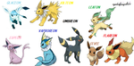 ALL eevee envolvations by cynderfangirl101
