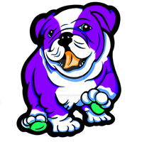 Happy Bull Dog Puppy Purple and White by sookiesooker