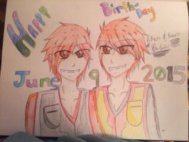 Happy birthday Hitachiin Twins ((colored)) by Roxaslover1998