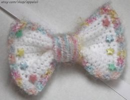 Appaloli: Fluffy Pastel Rainbow WHITE Crochet Bow by Appaloli