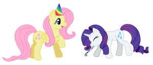 Fluttershy and Rarity: Party by SomeSayApple