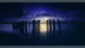 The golden mermaid in the old pier by RazielMB
