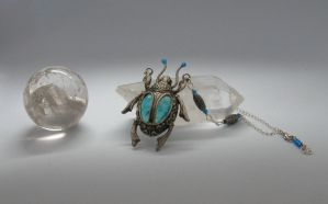 Silver Scarab with Swirly Relief by BringBackTheDodo