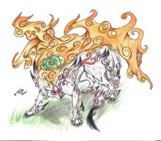 Okami the sun god-hallowraven by oki-okamiclub