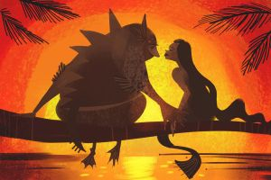 Sunset Creature Love by galgard