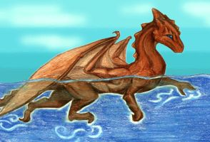A swimming dragon by Skylanth
