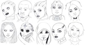 Mass Effect doodles by Lorrain