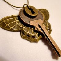Moth Wings Copper Key Necklace by SteamSociety