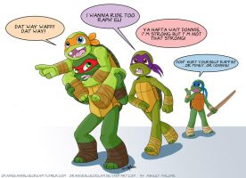 Turtles Playing Piggy Back 1 by OrangeBlueCream