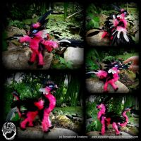 Handmade OOAK Poseable Sassy Pink Dragon - SOLD by SonsationalCreations