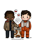 Star Wars - Finn, Poe, and BB-8 by caycowa
