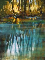'Creek Reflection' acrylic 12 x 9 inches by artistwilder