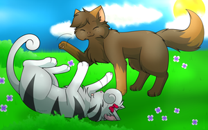 Commission - Play fight on a Grass field by CuteFlare