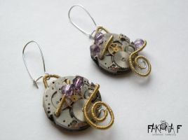 Gold Steam Earrings by faktoria-f