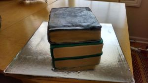 Hand Painted Garrus/Seattle Book Cake (pic 3) by GingerNins