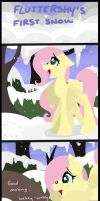 Fluttershy's first Snow by Drawing-Heart