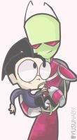 Invader Zim.-  Some smol Dib and tall Zim by yusunaby