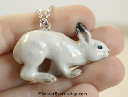 Snowshoe Hare Necklace by MonsterBrandCrafts