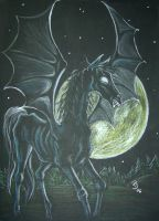 Thestral in the moonlight by HogwartsArt