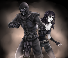 CM: Noob Saibot and Black Widow by skytabula