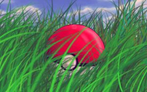 pokeball in the grass by Heidelmeier17