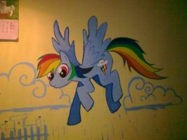 Rainbow Dash on a wall by lady-largo