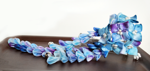 Blue and purple hydrangea tsumami kanzashi by hanatsukuri