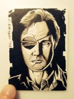 the walking dead sketch card by CharlesEttinger
