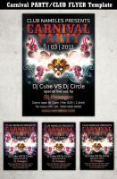 Carnival Party flyer template 2 by Hotpindesigns