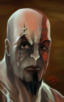 speed paint face of Kratos by jorcerca