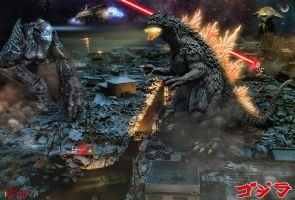 Godzilla Halloween Battle by innocentoVia