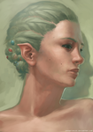 Greenhaired elf woman by SpoonfishLee