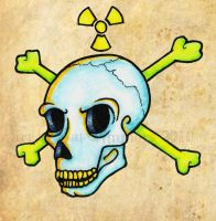 Radioactive Skull Tatt design by AcidUnicorn
