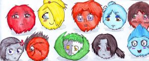 Akatsuki Fluffy Balls by lizathehedgehog