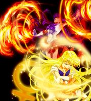Sailor Mars and Sailor Venus by AmarineCraft