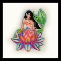 Lotus Mermaid tattoo design by Cyrenization