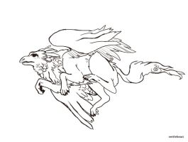 Griffin Flight- Sketch Commission by nettlebeast