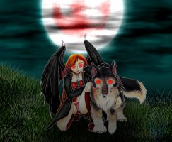 Vampire and Her Wolf by sapphire-blackrose