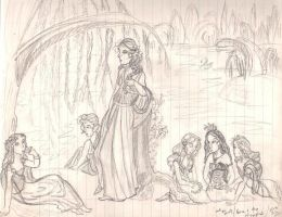 Hera and the nymphs sketch by anelphia