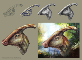 Parasaurolophus Painting Stages by charfade
